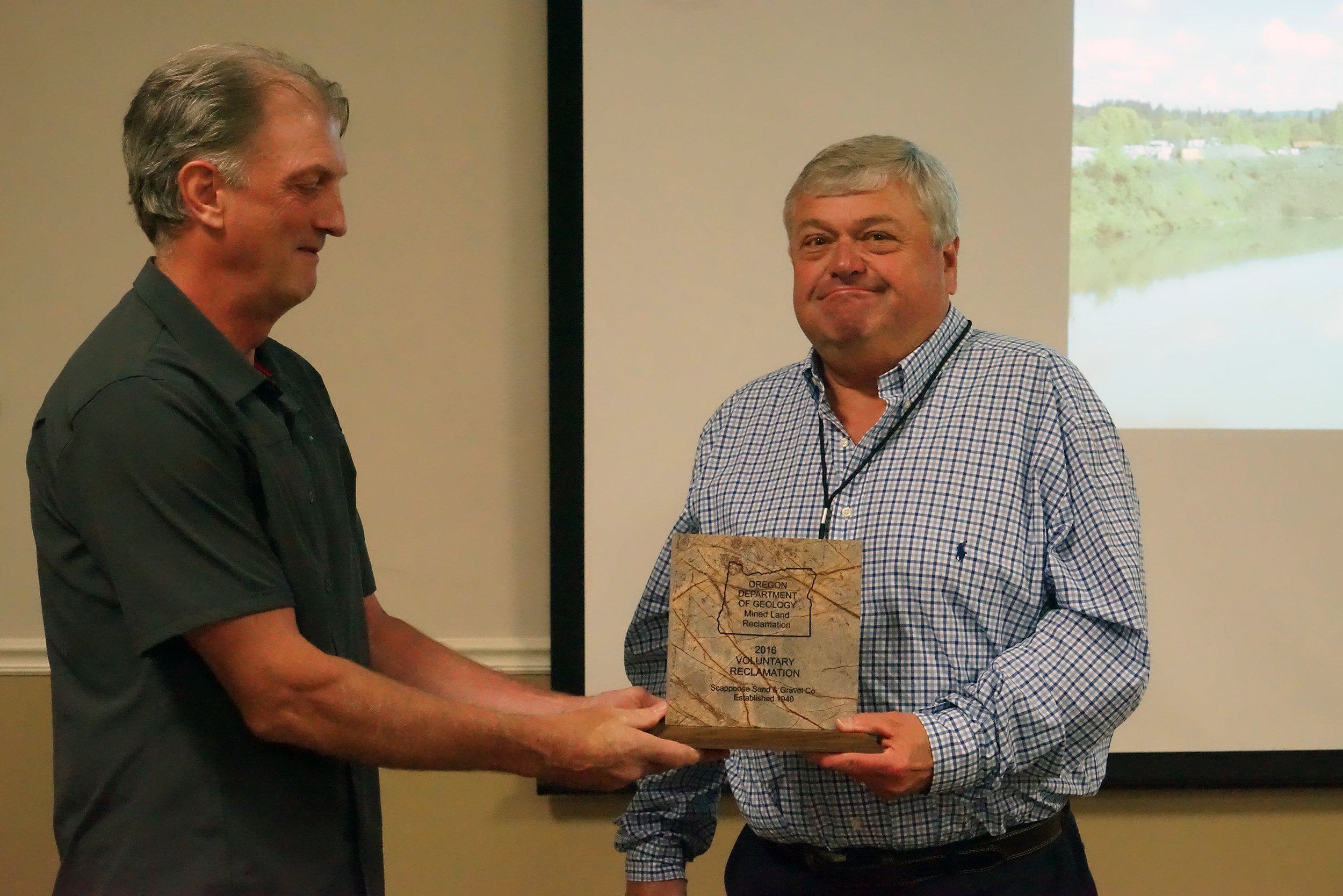 Scott Parker of Scappoose Sand & Gravel received the Voluntary Reclamation Award for 2016